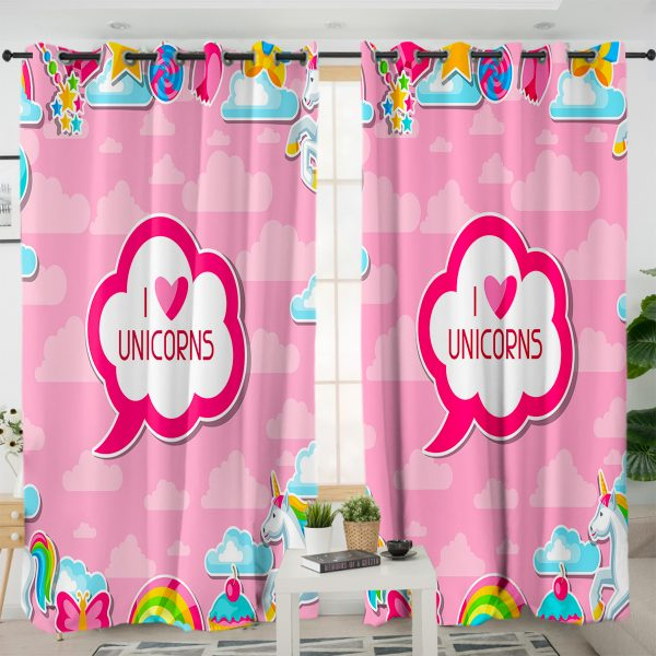 I Love Unicorn Themed Curtains