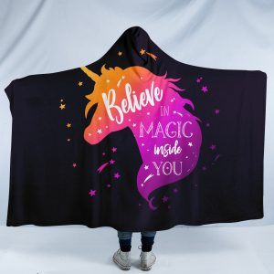 Purple Miracle Unicorn Hooded Blanket