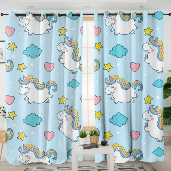 Baby Unicorn Blue Themed Curtains