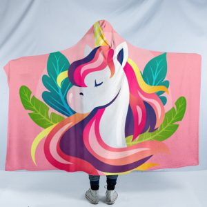 Pink Flowers Unicorn Hooded Blanket