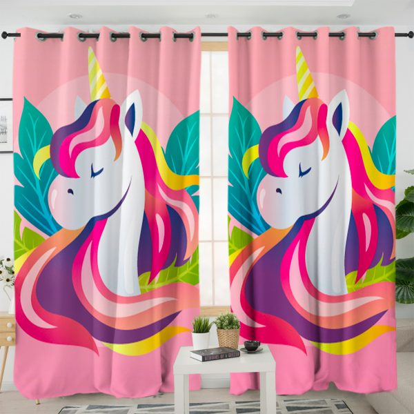 Pink Flower Unicorn Themed Curtains