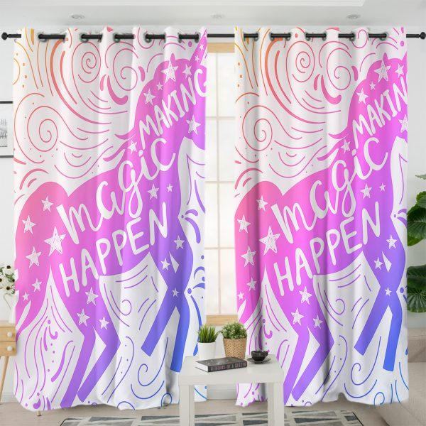 Believe In Magical Unicorn Themed Curtains