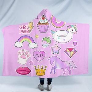 Girl Unicorn Emoji Hooded Blanket