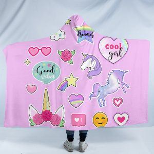 Pink Unicorn Icons Hooded Blanket