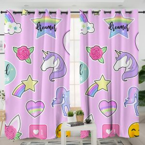 Pink Unicorn Icons Curtains