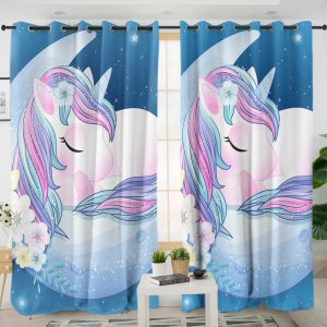 Blue Moon Unicorn Curtains