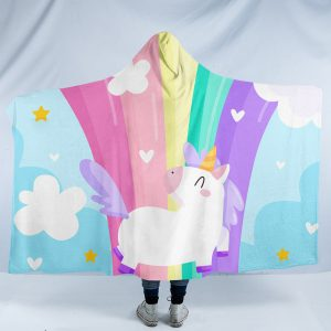 Kid Rainbow Unicorn Hooded Blanket