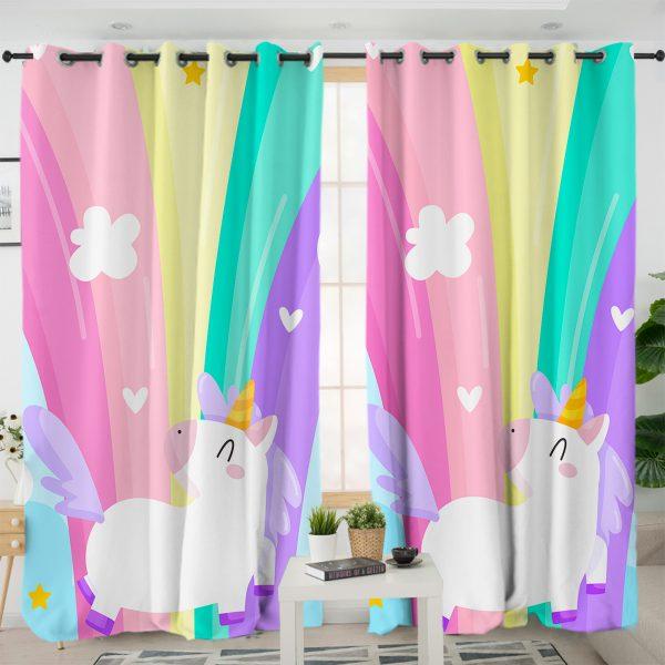 Adorable Rainbow Unicorn Curtains