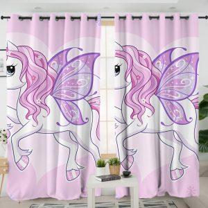 Pink Winged Unicorn Curtains