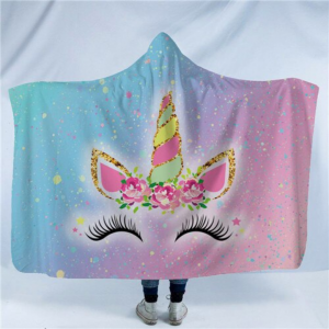 Adorable Unicorn Lash Hooded Blanket