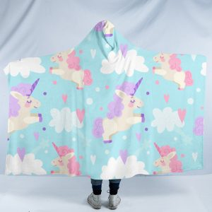 Baby Blue Unicorn Hooded Blanket