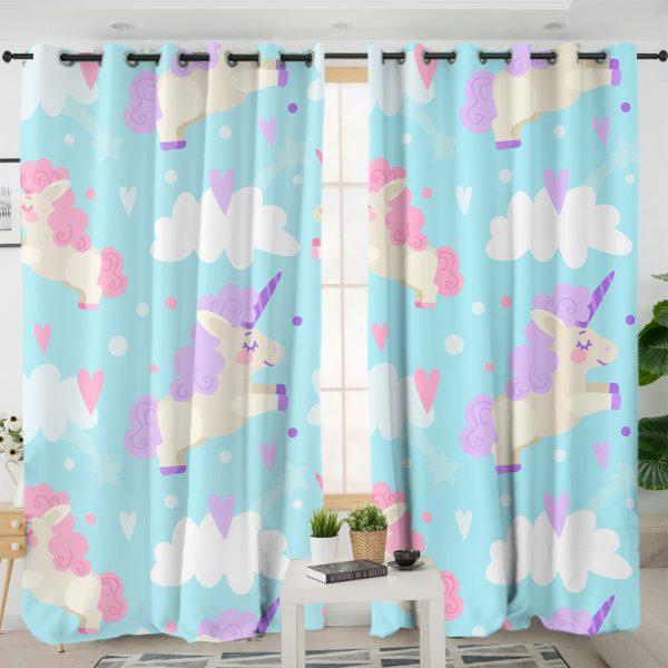 Adorable Blue Unicorn Curtains
