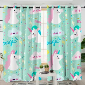 Green Unicorn Themed Curtains