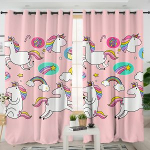 Unicorn Emoji Themed Curtains