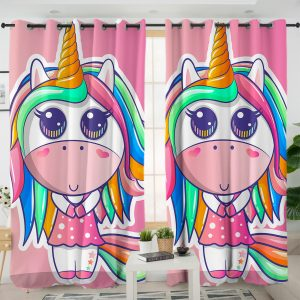 Cute Girl Unicorn Curtains