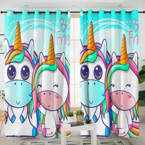 Two Cute Unicorn Curtains