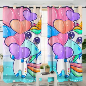 Heart And Unicorn Curtains