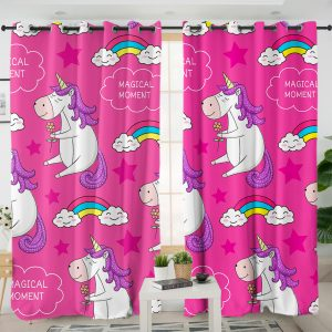 Cute Unicorn Pattern Curtains