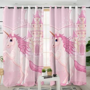 Pink Castle Unicorn Themed Curtains