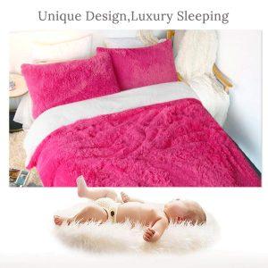 Rose Red Fluffy Bedding Set