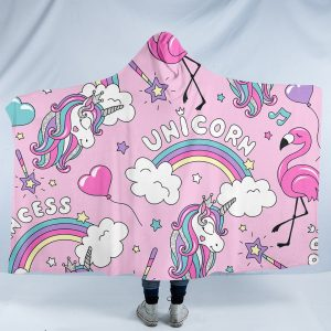 Pink Rainbow Unicorn Hooded Blanket