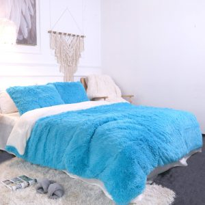 Blue Fluffy Bedding Set