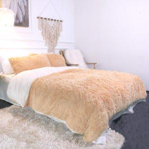 Gold Brown Fluffy Bedding Set