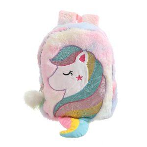 Rainbow Unicorn Fluffy School Bag
