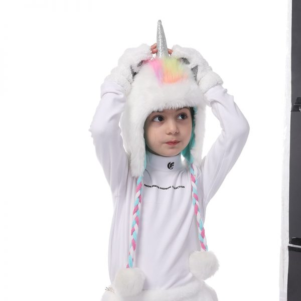 Unicorn Faux Fur Hooded Scarf With Gloves