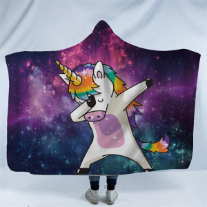 Magical Unicorn Dab Hooded Blanket