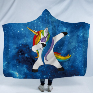 Blue Unicorn Dab Hooded Blanket