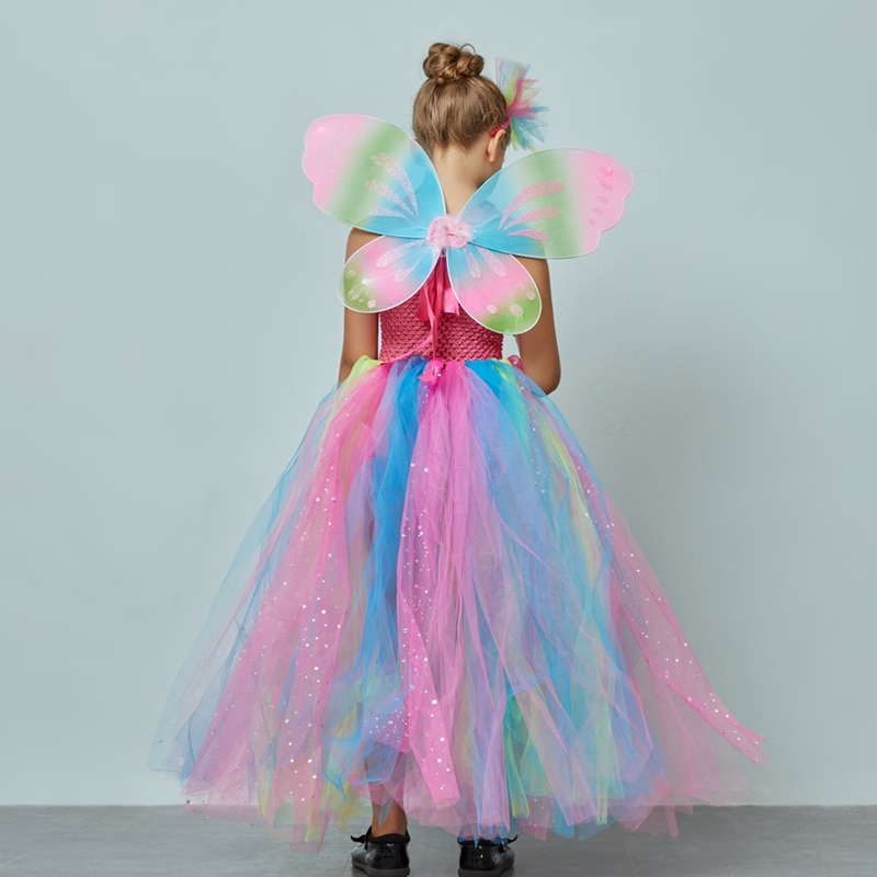 HBeatific Girls Layered Tulle Rainbow Tutu Skirt and Flower Unicorn Headband Party Dress.