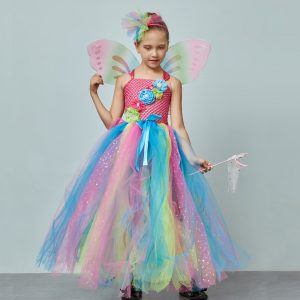 Affordable Rainbow Butterfly Girls Tutu Dress with Wings and Headband Princess Fairy Kids Birthday Party Dress Up Tutu Costume
