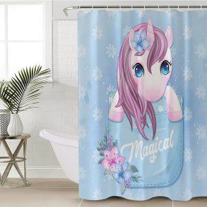 Baby Blue Unicorn Eyelash Shower Curtain
