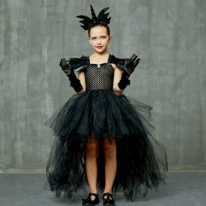 Black Dark Angel Girls Tutu Dress V-neck Train Girls Pageant Evening Party Ball Gown Fancy Dresses Kids Halloween Witch Costume