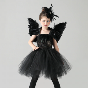 Black Swan Girls Tutu Dress with Feather Wing and Hair Clip