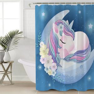 Blue Moon Unicorn Shower Curtain