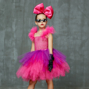 Bright Pink and Purple Tutu Dress with Deluxe Bows and Glasses Girls Punk Rock Tutu Dress Kids Birthday Party Halloween Costume