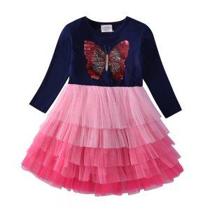 Butterfly Sequin Children Christmas Dress For Girls