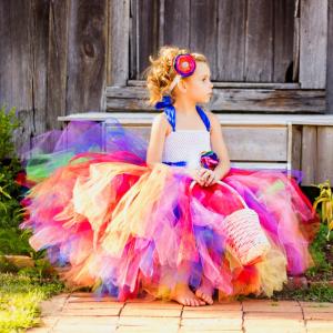 Candy Rainbow Flower Girls Tutu Dress