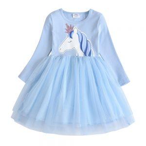 Cartoon Girls Unicorn Frocks Kids Cotton Long Sleeve Princess Tutu Dress