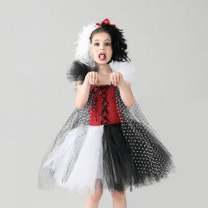 Cruella De Vil inspired Girls Tutu Dress with Headband
