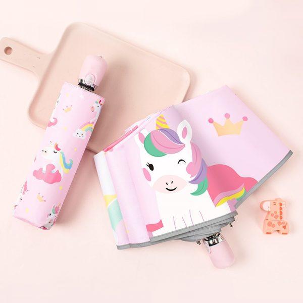 Cute Cartoon Unicorn Folding Umbrella