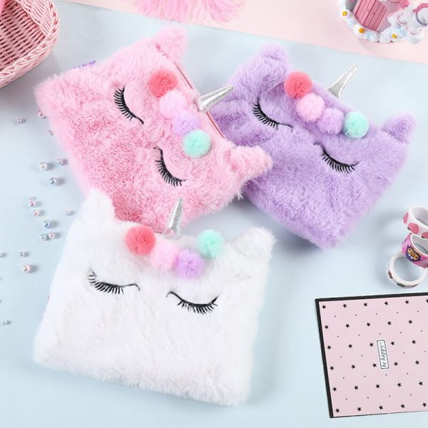 Cute Gift For Girls – Fluffy Unicorn Pencil Case Cosmetic Bag