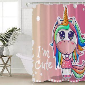 Cute Girl Unicorn Shower Curtain