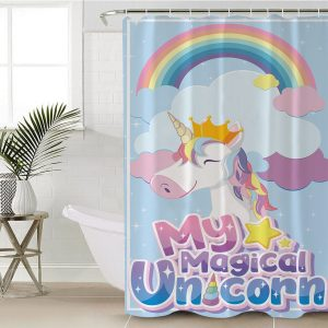 Cute Girl Unicorn Shower Curtain (Copy)