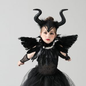 Disguise Girls Deluxe Maleficent Black Gown Tutu Dress with Feather Cape Shawl