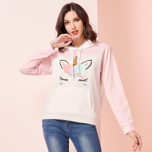 Dreaming Unicorn Pastel Pink Pullover Hoodie