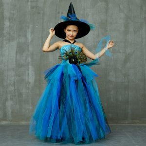 Elegant Peacock Feather Costume Girls Fluffy Layered Tutu Dress with Witch Hat