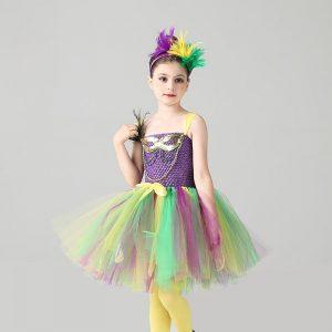 Fancy Girls Peacock Mardi Gras Tutu Dress with Headband